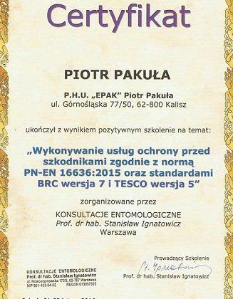 Wykonywanie usług ochrony przed szkodnikami zgodnie z normą PN-EN 16636:2015 oraz standardami BRC wersja 7 i TESCO wersja 5