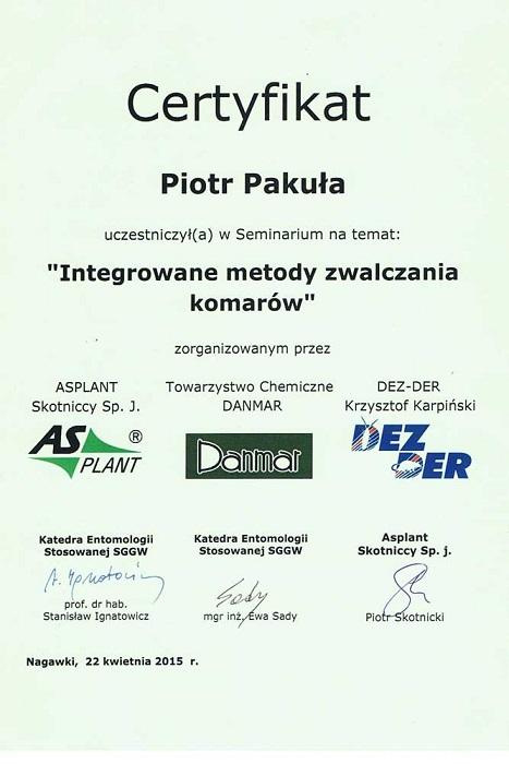 Certyfikat03 - Integrowane metody zwalczania komarów