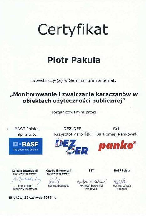 Certyfikat04 - Monitorowanie i zwalczanie karaczanów w obiektach użyteczności publicznej