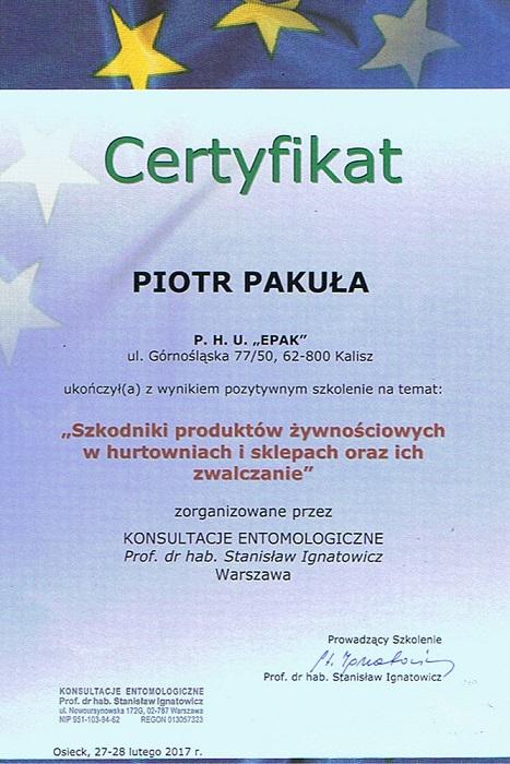Certyfikat08 - Szkodniki produktów żywnościowych w hurtowniach i sklepach oraz ich zwalczanie