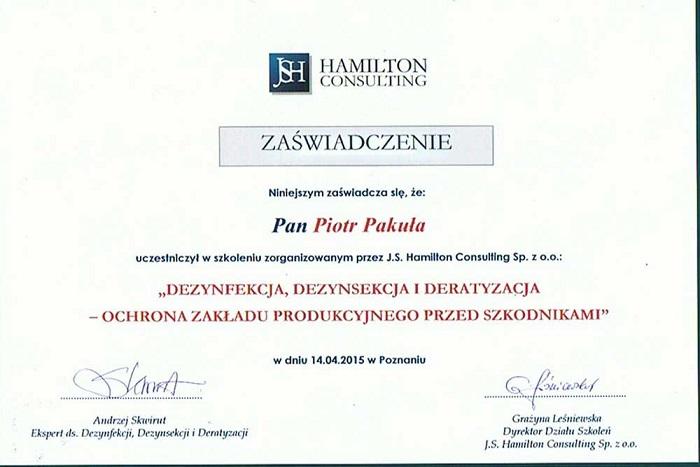 certyfikat06 - Dezynfekcja, dezynsekcja, deratyzacja - ochrona zakładu produkcyjnego przed szkodnikami