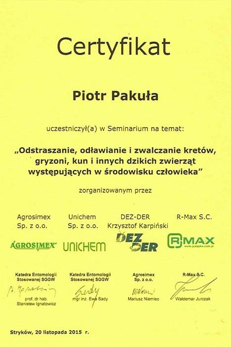 certyfikat07 - Odstraszanie, odławianie i zwalczanie kretów, gryzoni, kun i innych dzikich zwierząt występujących w środowisku człowieka