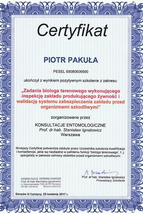 Certyfikat11 - Zadania biologa terenowego wykonującego inspekcję zakładu produkującego żywność