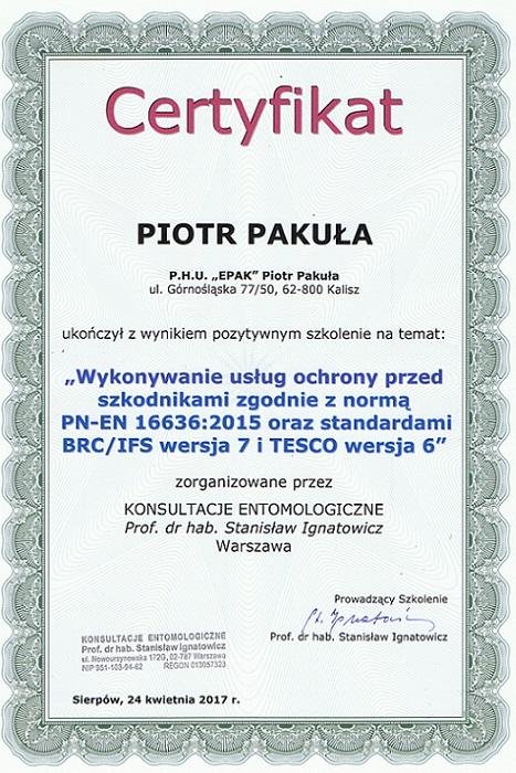 certyfikat10 - Oprysk na kleszcze w ogrodzie