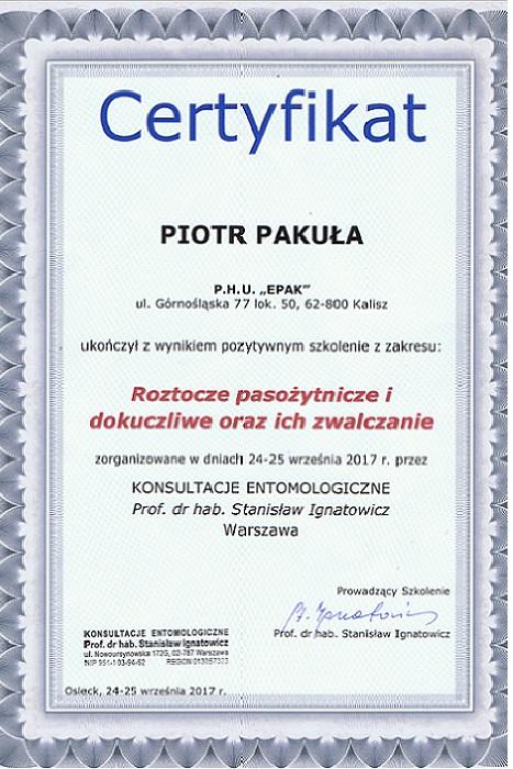 Certyfikat12 - Roztocze pasożytnicze i dokuczliwe oraz ich zwalczanie