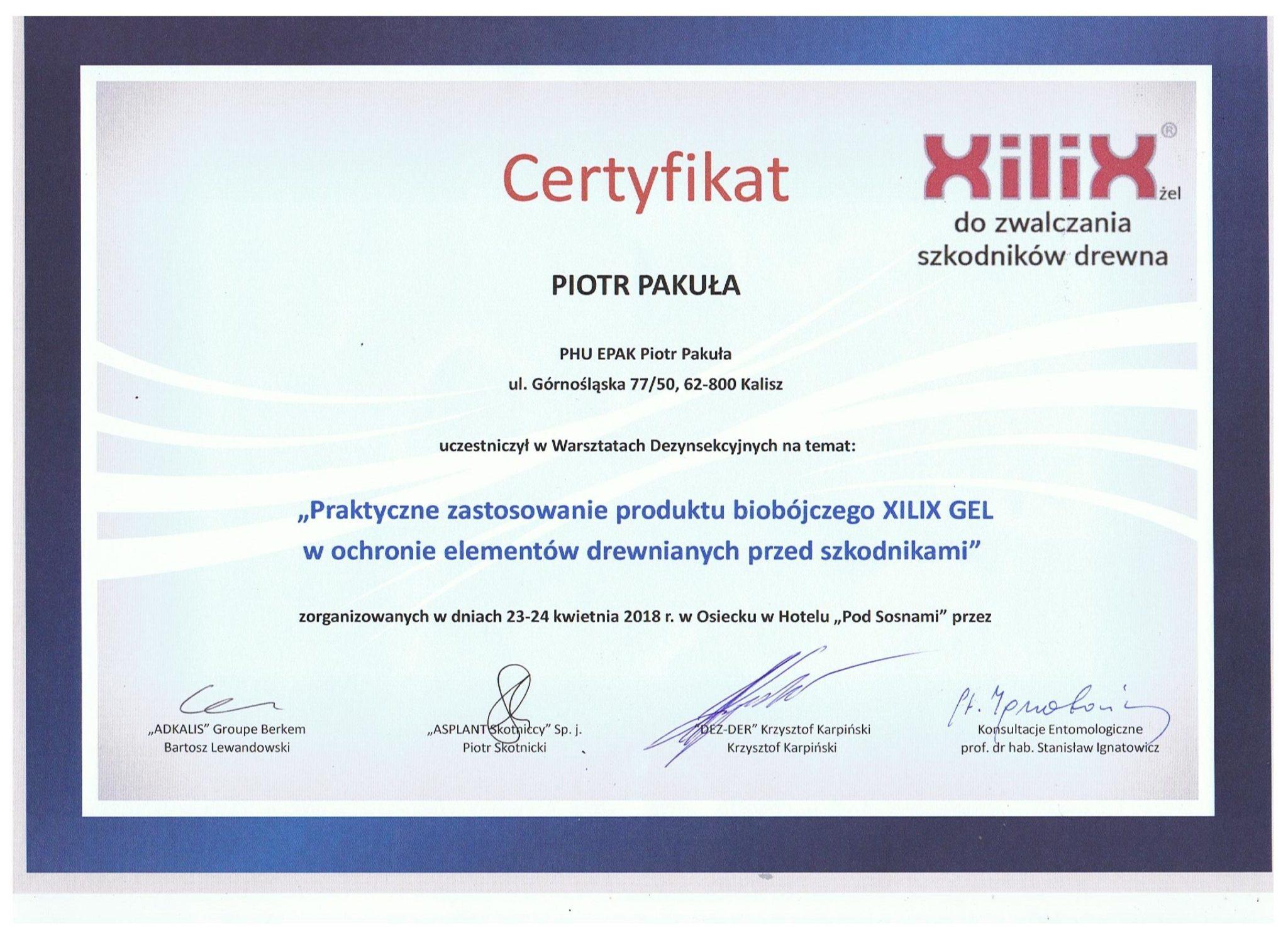 """certyfikat kwiecein 2 e1524733303406 - """"Praktyczne zastosowanie produktu biobójczego XILIX GEL w ochronie ewlemntów drewnianych przed szkodnikami"""""""