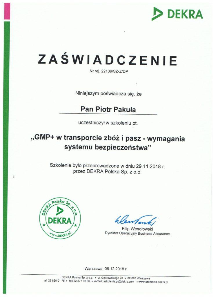 certyfikat 1 745x1024 - GMP+ w transporcie zbóż i pasz - wymagania systemu bezpieczeństwa
