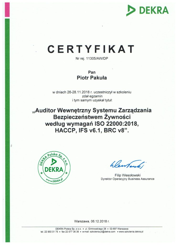 certyfikat 2 745x1024 - Auditor Wewnętrzny Systemu Zarządzania Bezpieczeństwem Żywności