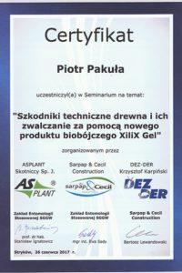 Certyfikat Xilil Gel - EPAK - Piotr Pakuła