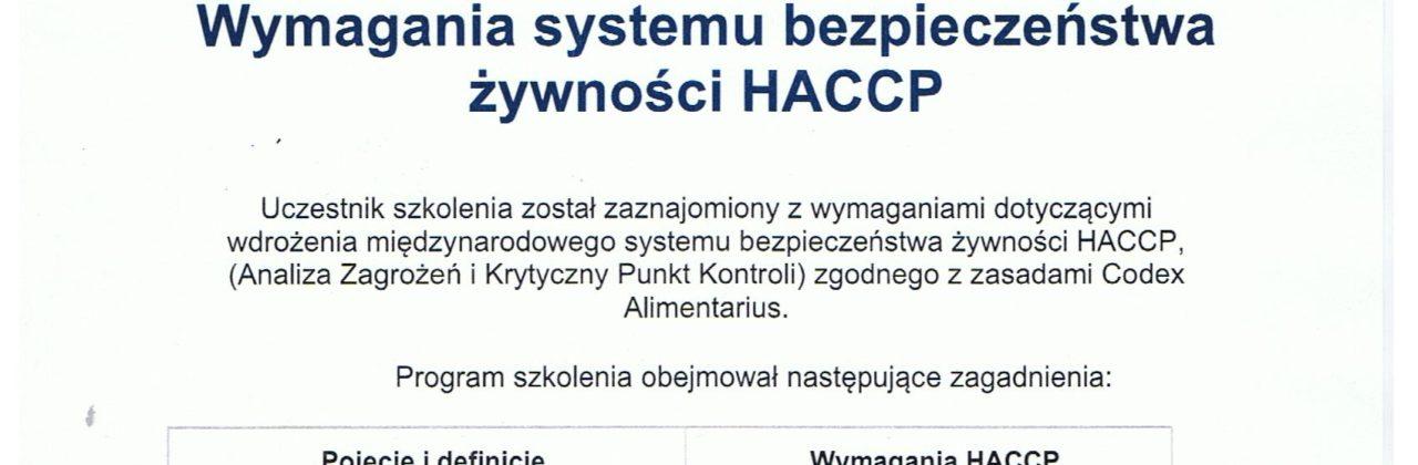Wymagania systemu bezpieczeństwa żywności HACCP