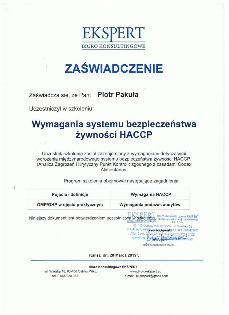 certyfikat 745x1024 - Wymagania systemu bezpieczeństwa żywności HACCP